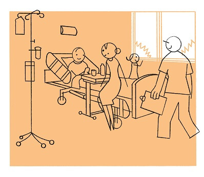 Illustration of a family at a child's bedside in a hospital room