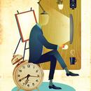 man sitting and working