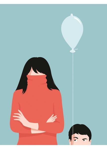 Illustration of a woman and child with a balloon