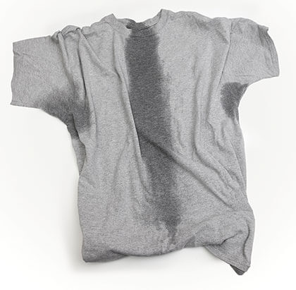 Photograph of a wrinkled, sweaty t-shirt