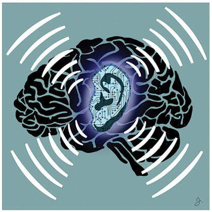 Illustration of an ear superimposed on a brain, being exposed to radiation waves