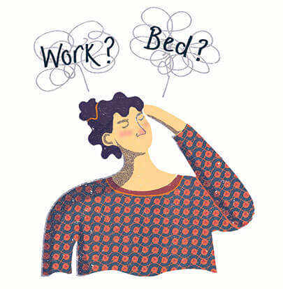 illustration of a woman thinking about going to bed or work when sick