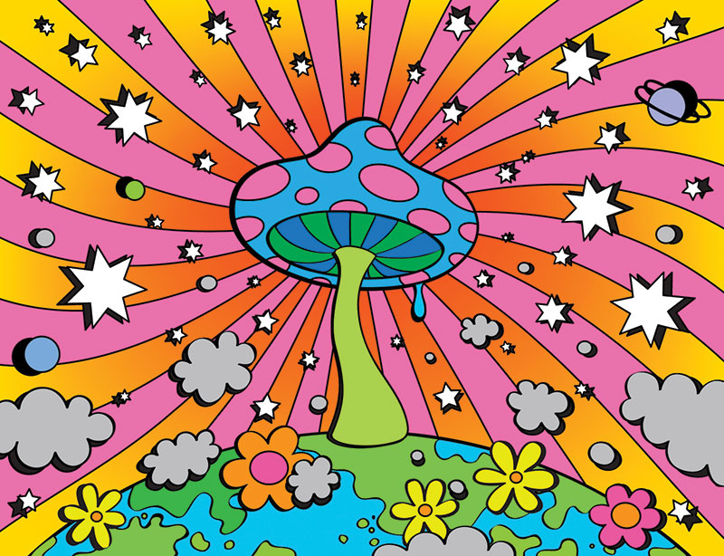 Illustration of a psychedelic magic mushroom