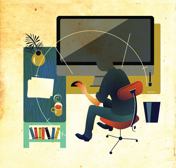 Illustration of a worker sitting at a desk