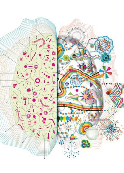 Fun illustration of both hemispheres of a brain