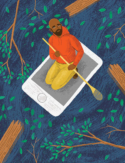 Illustration of a person paddling through water, kneeling on an oversized smartphone
