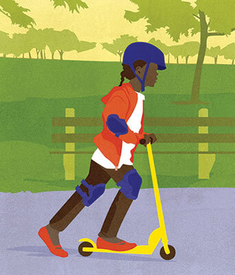 Illustration of a girl on a scooter in the park