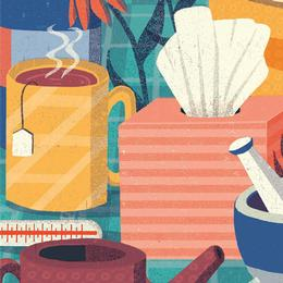 Illustration of tissues, tea, cough syrup and other related cold remedies