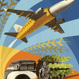 Illustration of plane and truck made with vegetables