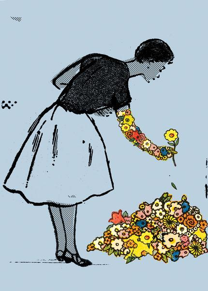 Illustration of a woman with an arm composed of flowers reaching down to add a single bloom to a flower bed