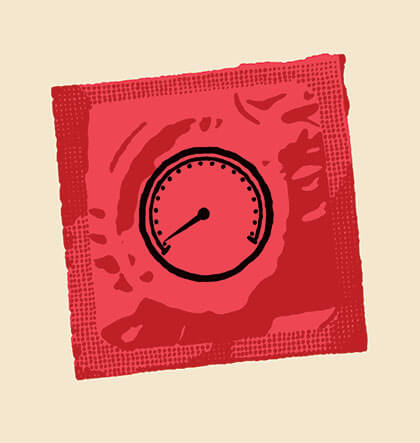 Illustration of a condom with a speedometer printed on the wrapper