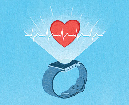 Illustration of an Apple Watch projecting a heartbeat upwards