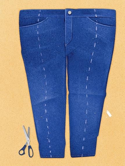 illustration of jeans that need to be made smaller