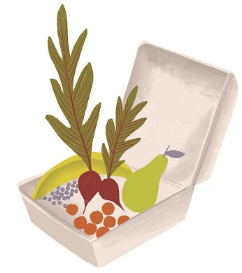 illustration of healthy food in a cooler