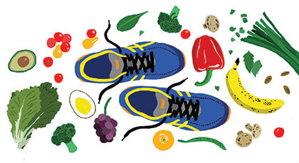 Illustration of running shoes surrounded by fruits and vegetables