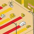 illustration depicting organs being transported to a hospital