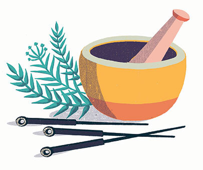 illustration of acupuncture needles and a mortar and pestle