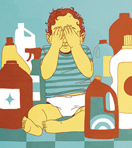 Illustration of toddler sitting on floor, covering eyes, surrounded by bottles of harmful chemicals