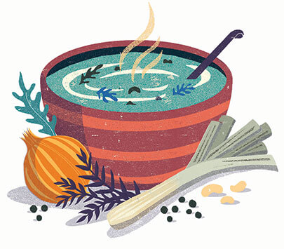 illustration of a soup bowl with hot soup and vegetables