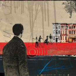 collage image of a man staring at children playing sports with townhomes in the background