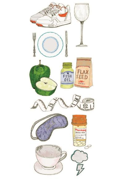 Illustration of shoes, wine glass, plate, apple, flax seed and other items