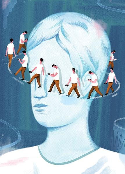Illustration of a person's head with smaller people walking around it in a circle
