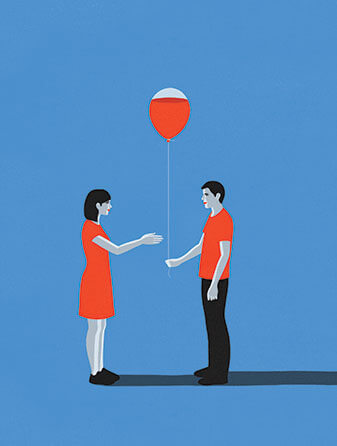 Illustration of a man holding a balloon and a woman reaching for it