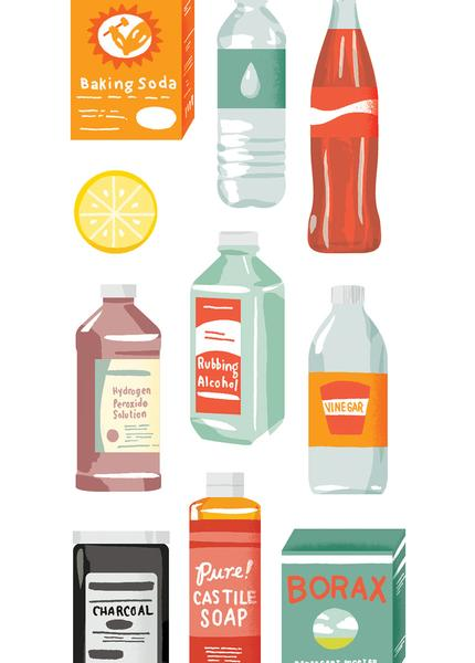 Illustration of various kitchen pantry items