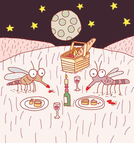 Illustration of two mosquitoes having a picnic under the night sky