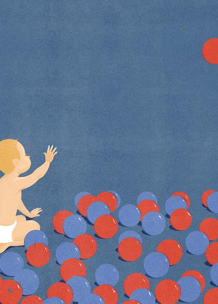 Illustration of a baby reaching for a red ball in the air