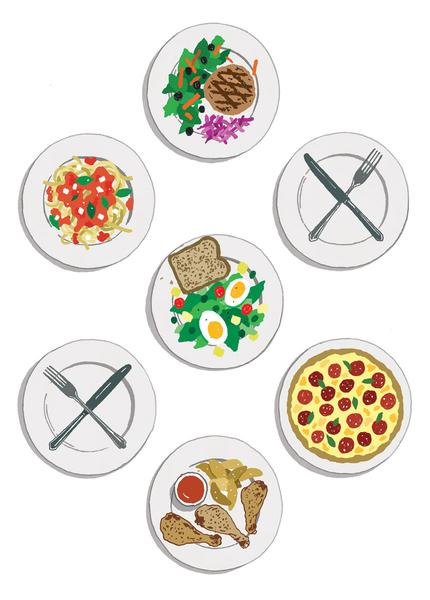 Seven plates, five with food and two without, to signify two days of fasting a week.